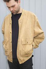 De colección chaqueta de bombardero de Gamuza Para Hombre Beige Camel Años 90 Retro Abrigo Smart Casual