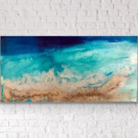 Large ORIGINAL HAND PAINTED ABSTRACT By Diane Plant 100 x 50cm BoxCanvas Acrylic