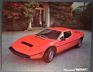 1978-1979 Maserati Merak SS Sales Brochure Sheet Excellent Original