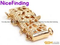 4 Strand 14K Yellow Gold Filled Filigree Box Clasp Jewelry Making Repair Finding