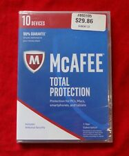 McAfee Total Protection 2017 10 Devices 1 Yr PC Mac Mobile Free Upgrade to 2018