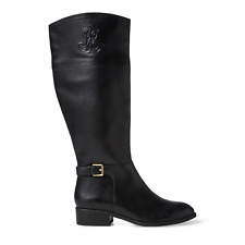 Lauren Ralph Lauren Women's Madisen Tall Riding Boot Size 6 Black Leather