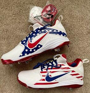 Special USA Edition Nike Alpha Huarache Elite Metal Baseball Cleats Size 11