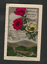 Posted 1935 Birthday Card - Flowers - Greeting To My Dear Friend