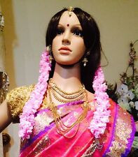 Flowers For Hair Malai Saram Garland Bollywood Indian Bridal Strand Pink Purple