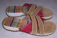 MONTEGO BAY CLUB Tan & Red Suede Canvas Slides Womens Sandals Shoes Size 11M