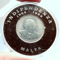 1989 MALTA Independence Prime Minister GIORGIO BORG OLIVIER Silver Coin i74067