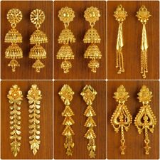 Indian 18K Gold Plated Earrring Bollywood Bridal Dangle JHUMKA Fashion Jewelry