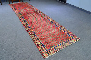 Vintage Hand Knotted Oriental Wool Classic Traditional Runner Area Rug 3x11