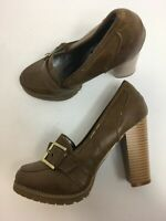 WOMENS FIORE BROWN FAUX LEATHER BUCKLE HIGH HEEL LOAFER PLATFORM SHOES UK 5 EU38