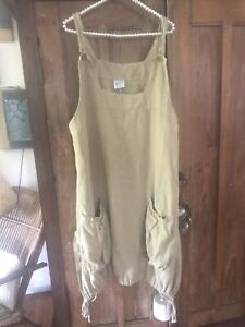Linen pinafore dress  XXL lagenlook drawsring bubble hem