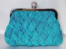 Evening Bag Braided Satin Purse Crystal Accents in Blue Black or Purple