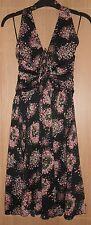 BNWT MANGO Suit Black & Pink Floral Detail Lined Halter Neck Dress size Medium
