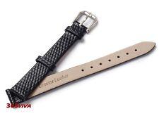 14mm Black Genuine Leather Cowhide Lizard Grain Thin Watch Strap Bracelet Band