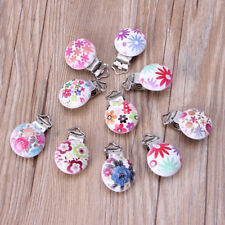 5Pcs Wooden Baby Pacifier Clips Flower Mixed Pattern Infant Soother Clasp Holder