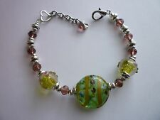 Silver Tone Charm Bracelet 8inches Charming Glass Crystals Lobster Clasp