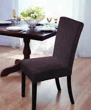 """PRICED TO SELL""   DAMASK ""STRETCH"" VELVET DINING CHAIR COVER--BROWN--ON SALE !!"