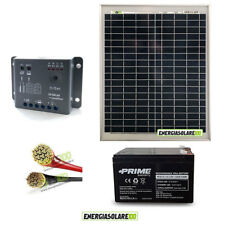 Kit pannello solare fotovoltaico 20W 12V batteria 12Ah cavi 2.5mmq PVC