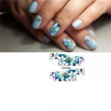 Nail Art Water Decals Stickers Transfers Water Effect Blue Tulips Flowers (8092)