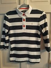 Joules Pearl Size 14 Navy Blue White 3/4  Sleeve Top Button Detail