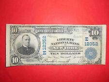 1902 $10 LIBERTY NATIONAL BANK in NEW YORK E12352 NY, USA 09 April 1923. RARE!