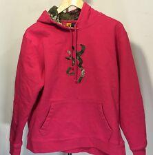 Browning Arms Pink Large Logo Hunting Hoodie Sweatshirt Women's XL EUC