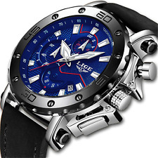 LIGE Watches Mens Waterproof Sport Analogue Quartz Watch Man Chronograph Large
