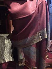 Vintage Style Knit Teal Burgundy Reversible Pashmina Scarf Wrap Shawl