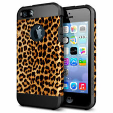 "FOR iPhone 6 6S 4.7"" Brown Leopard Cheetah Hybrid Shockproof Hard Rubber Case"