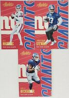 2018 Panini Absolute Football New York Giants Team Set (No RC) 3 Card Lot