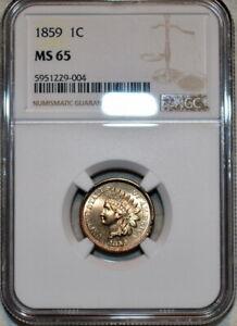 NGC MS-65 1859 Indian Head Cent, Gorgeous, Blazing, Golden Gem!