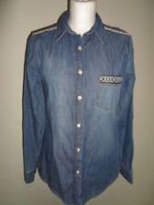 G21 @ GEORGE ladies blue denim black/white embellish long shirt – 8 S