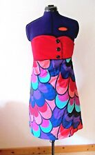 AMARILLOLIMON Spanien Designer Cocktail Party Hippie Kleid Corsage Pfau 40 42 XL