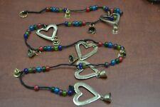 """Handmade Heart Brass Metal Bells Glass Bead Thread String 45"""" #155"""