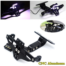Black Motorcycle License Plate Holder Tail Mount Bracket w/LED Light Eliminator