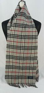 BURBERRY SCARF 100% LAMBSWOOL FOR MEN AND WOMEN MADE IN ENGLAND GREY SA