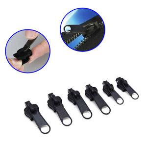 6Pcs Fix Zip Slider Repair Instant Kit Removable Rescue Replacement Metal Black