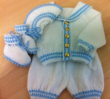 new sailor outfit white & baby blue stripe hand knit baby boy 0-3 months reborn