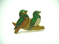 Vintage Love Birds Enamel Lapel Pin from the 80's
