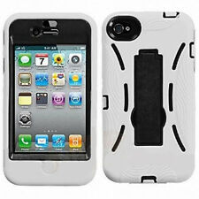 Apple iPhone 4 4S White/Black Dual Stand Cover Armour Protection Case With Stand