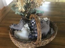 New Homespun Plaid Ornies Bowl Fillers PrImITive Stars Navy Blue Tan 6 Handmade