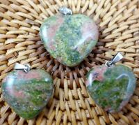 3PC Unique Unakite Heart-shaped pendant Gem necklace earring Jewelry Making