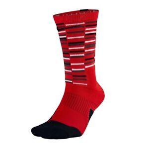 Nike Elite Cushioned Crew Socks Youth 3Y - 5Y Women 4 - 6 Red Black SX7010 657