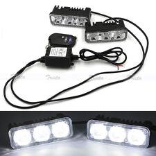 2pc 3 LED White Car DRL Driving Light Remote Control Strobe Flash Warning Lamp