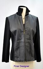 CWC Coldwater Creek black leather JACKET knit moto zip BLAZER Coat top Size PM