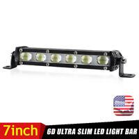 7inch Slim LED Work Light Bar Fog Spot Beam 1-Row Offroad Lamp Truck ATV SUV US