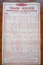 1948 BR Railway Train Timetable Poster Edinburgh and Newcastle