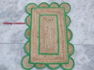 Scalloped Rug 100% Natural Jute Braided Rectangle Floor Mat Handmade Living Rug