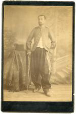 Officier avec sa canne Vintage albumen print Tirage albuminé  11x16  Cir