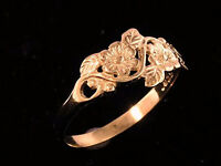 R010 > Lovely 9ct SOLID ROSE Gold Flower Blossoms & Leaves Ring size 5 , J 1/2